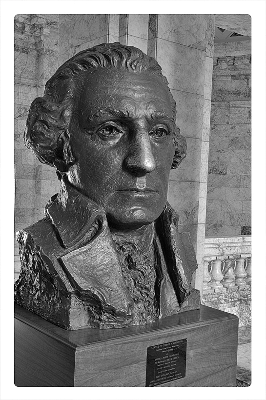 A bust of G. Washington in the WA State Capitol.