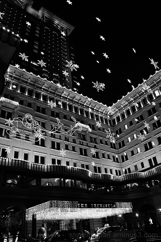 Snow at The Peninsula in Hong Kong.
