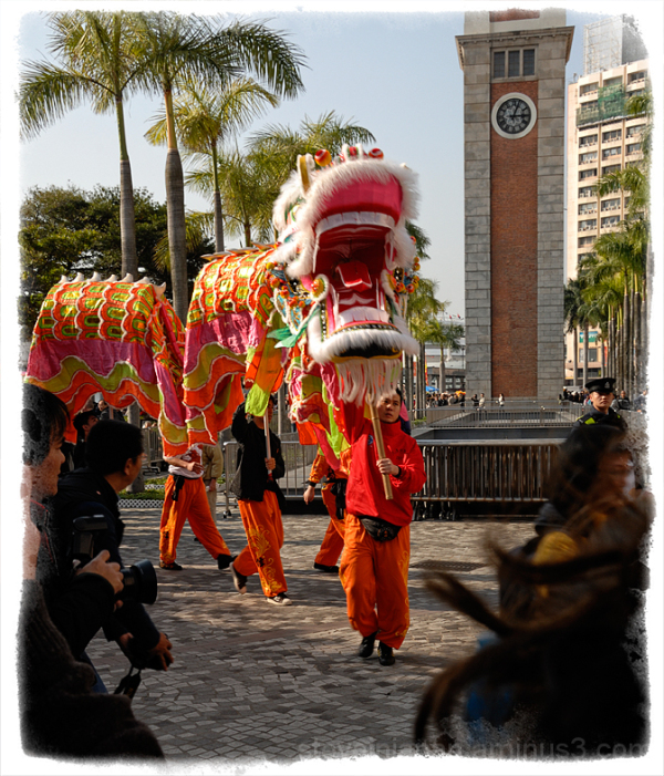 A dragon leads the dancers on New Year's Day 2011.