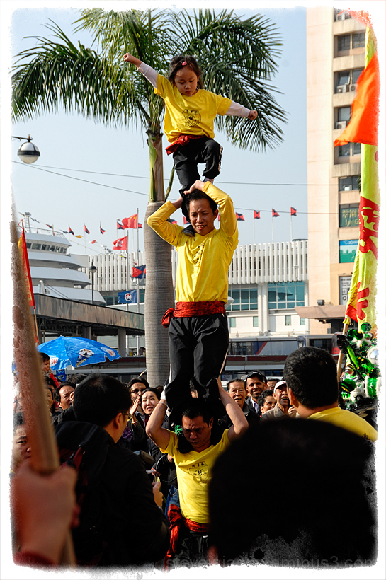 Acrobats at the lion dance in Hong Kong.