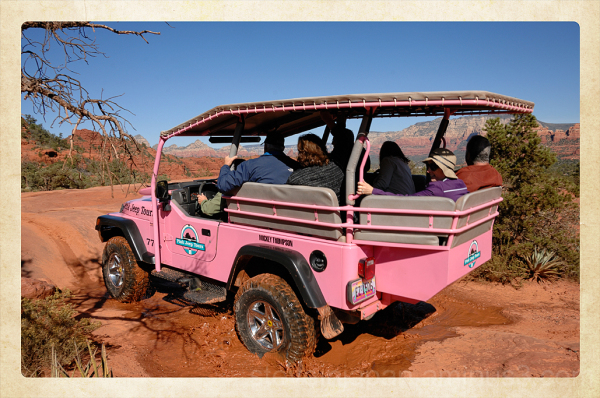 A Pink Jeep on the Broken Arrow Trail.