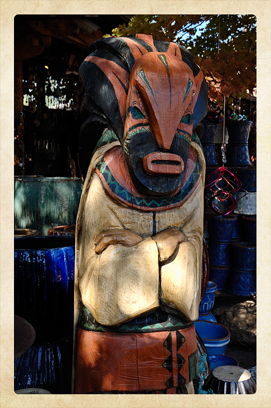 A wood carving at a tourist trap in Sedona, AZ.
