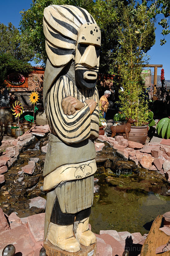 A wooden carving at a tourist trap in Sedona.