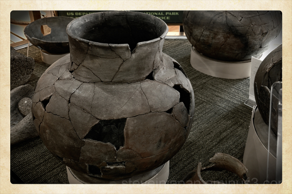 Clay pots in the visitor center at Tuzigoot NM.