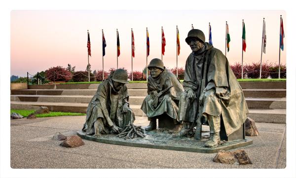 The Korean War Memorial in Olympia, WA, USA.