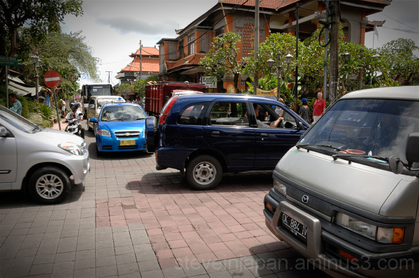 Monkey Forest Road and traffic jam in Ubud, Bali.