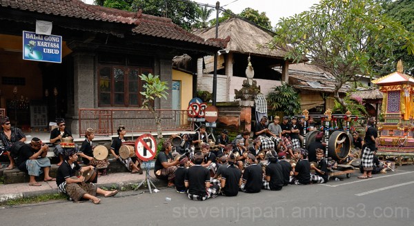 Band practice along the street in Ubud, Bali.