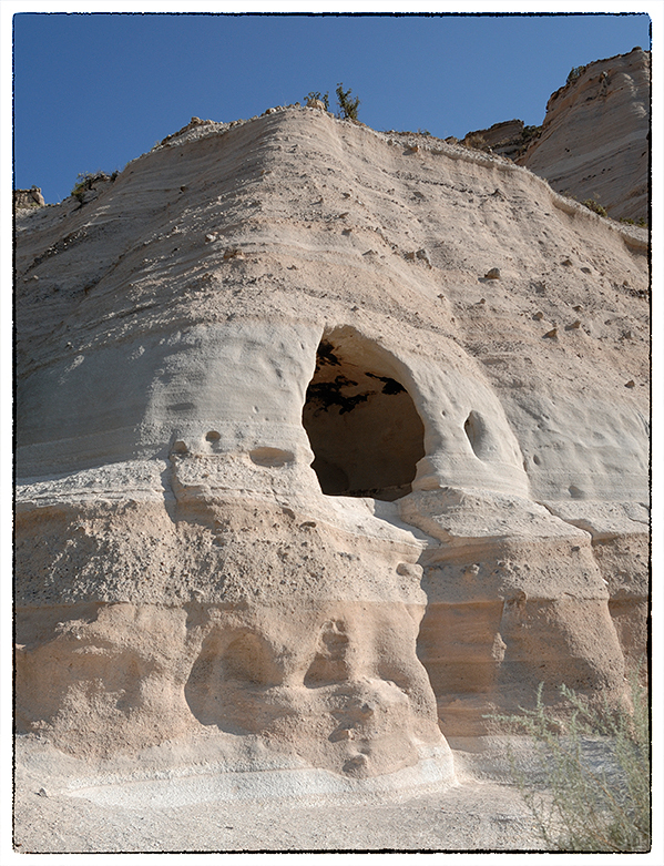 A small, manmade cave at Tent Rocks NM.