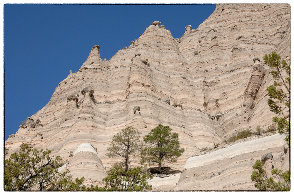 A rock wall at Tent Rocks NM.