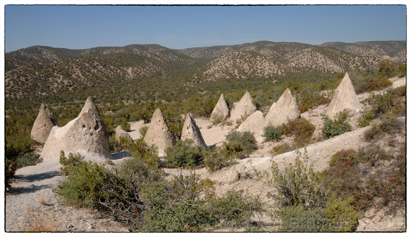 "A ""village"" of tents at Tent Rocks NM."