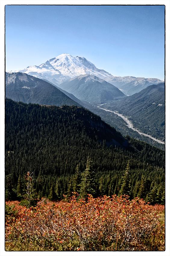 A smokey view of Mt. Rainier from Crystal Peak.