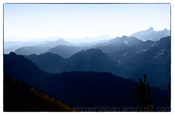 The hills and smoke from the Crystal Peak.