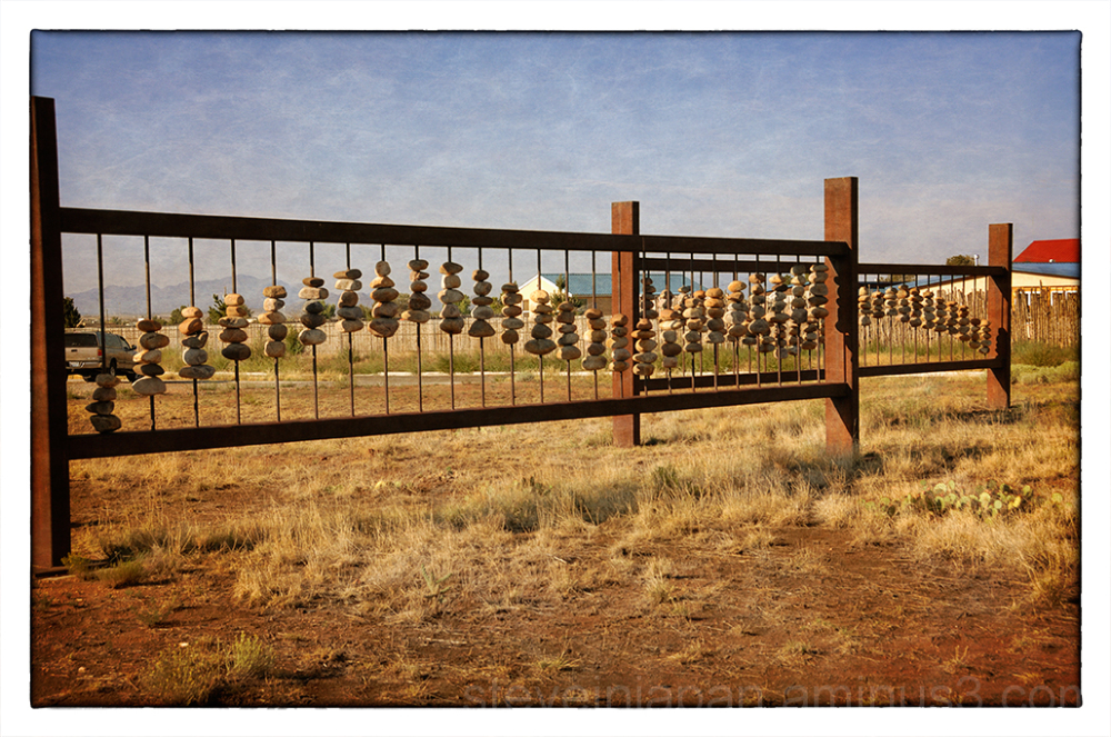 A large abacus like structure in Santa Fe, NM.