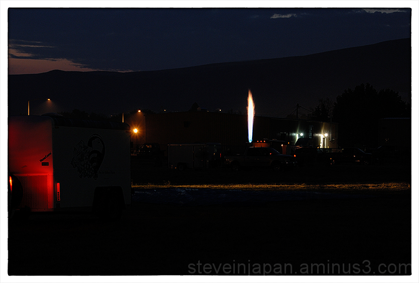 A burner being tested at the Prosser Balloon Fest.