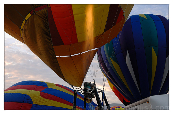 A balloon being inflated at a balloon festival.