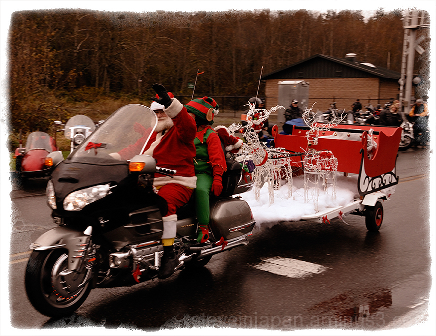 Santa on a bike at the Olympia Toy Run.