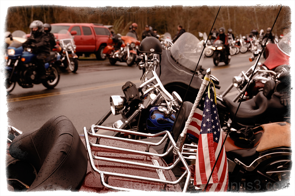 Bikers kept arriving at the Olympia Toy Run.