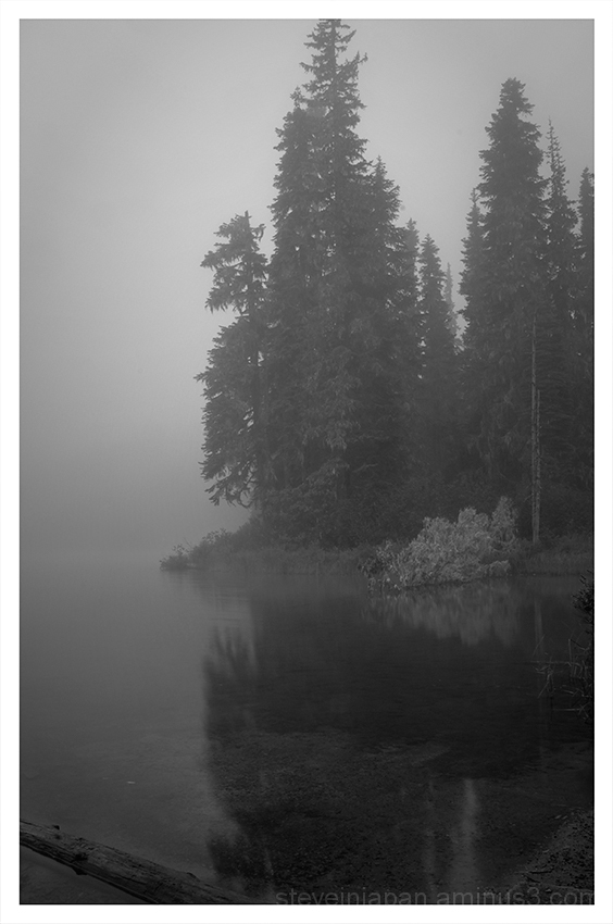 Thick fog on Takhlakh Lake.