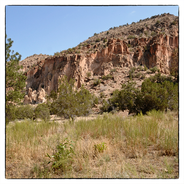 Cliffs of tuff at Bandelier National Monument.