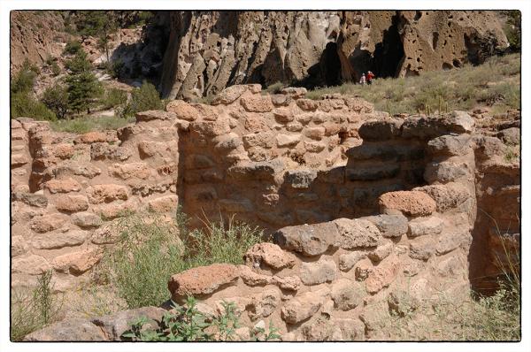 Ruins of Tyuonyi Pueblo at Bandelier NM.