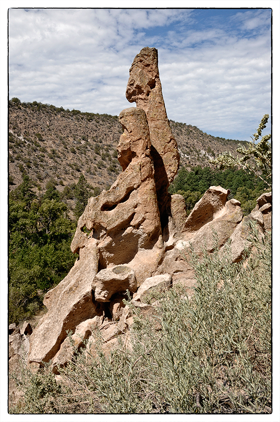 A rock formation at Bandelier National Monument.