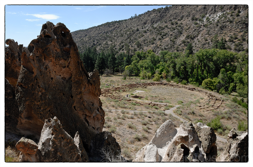 Ruins of Tyuonyi Pueblo at Bandelier NM.