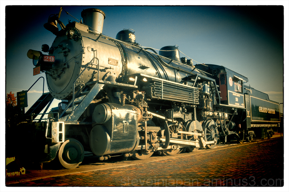 The steam locomotive at the Grand Canyon Railway.