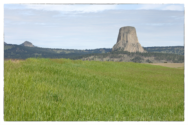Devils Tower on approach to the National Monument.