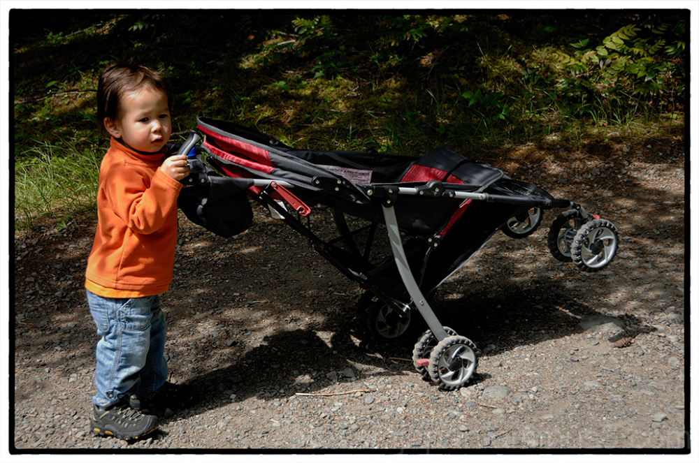 Alex pushes his stroller down a trail.