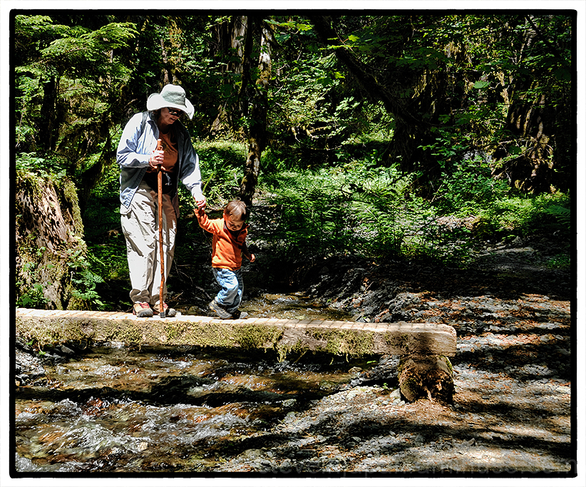 Alex and his grandma navigate a stream.
