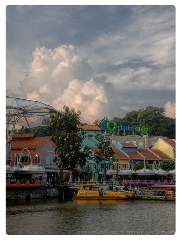 Billowing clouds at Clarke Quay in Singapore.