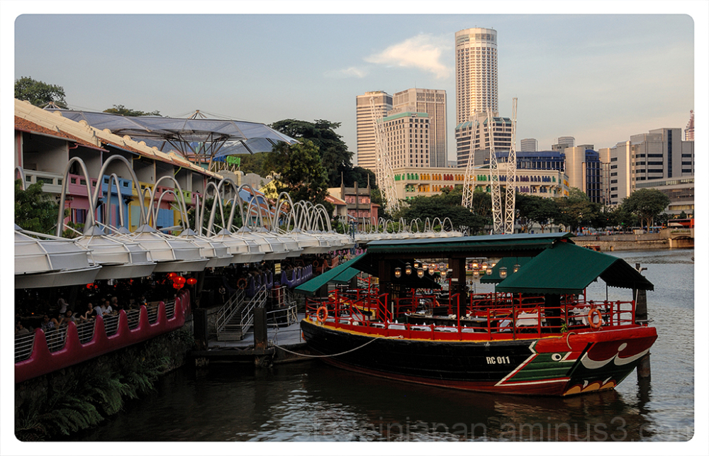 A floating dining room at Clarke Quay.