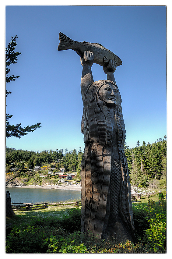 The Maiden of Deception Pass carving.
