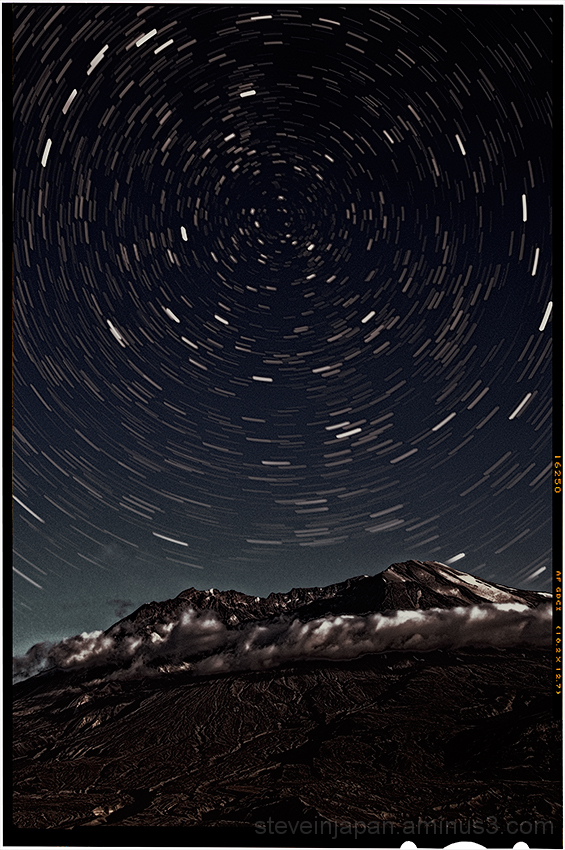 Stars above Mount St. Helens.