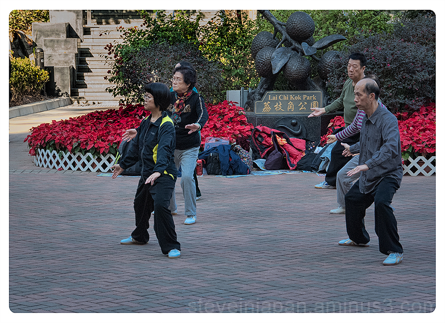Tai chi in the park in Hong Kong.
