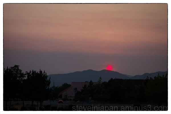 A smoke filled sunrise in Reno, Nevada.
