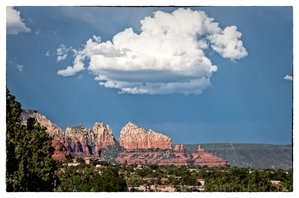 Sail Rock, in stormy weather, in Sedona, Arizona.
