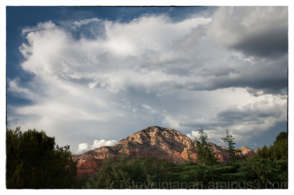 Greyback, in stormy weather, in Sedona, Arizona.