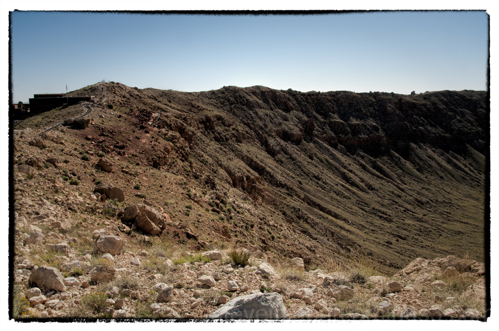 On the rim of Meteor Crater, Arizona.