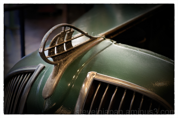The hood ornament from a 1936 Plymouth.