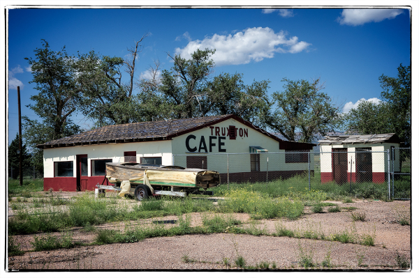 The defunct Truxton Cafe in Truxton, AZ,