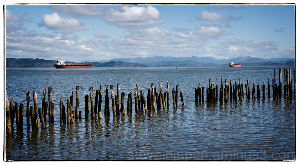 Ships on the Columbia River at Astoria, Oregon.