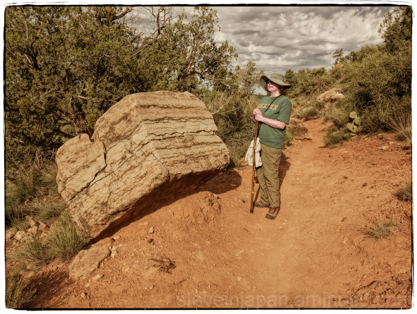 A boulder on the Little Horse Trail.