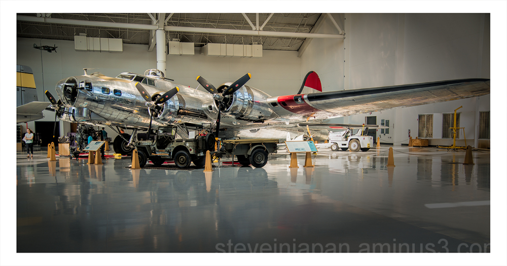 A Boeing B-17 Flying Fortress on display.