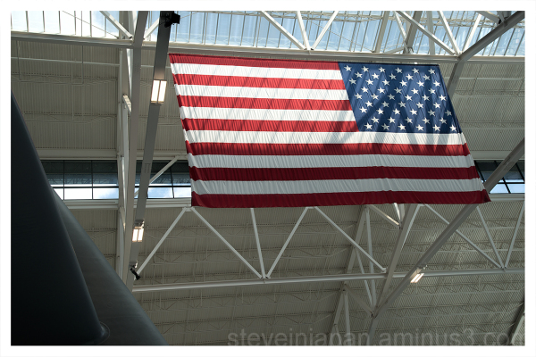 The US flag seen above the Spruce Goose.