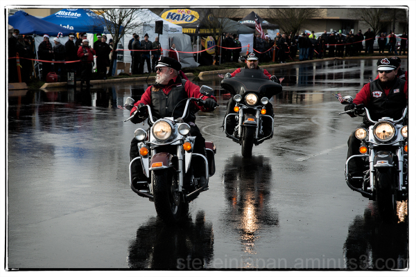 A drill team performs at the Olympia Toy Run.