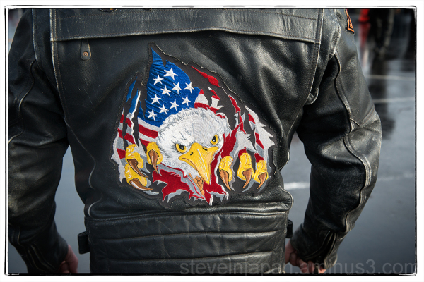 A biker's jacket at the Olympia Toy Run.