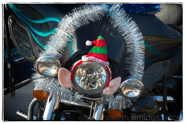A decorated bike at the Olympia Toy Run.