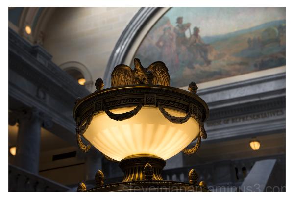 A decorative brass lamp in the Utah Capitol.