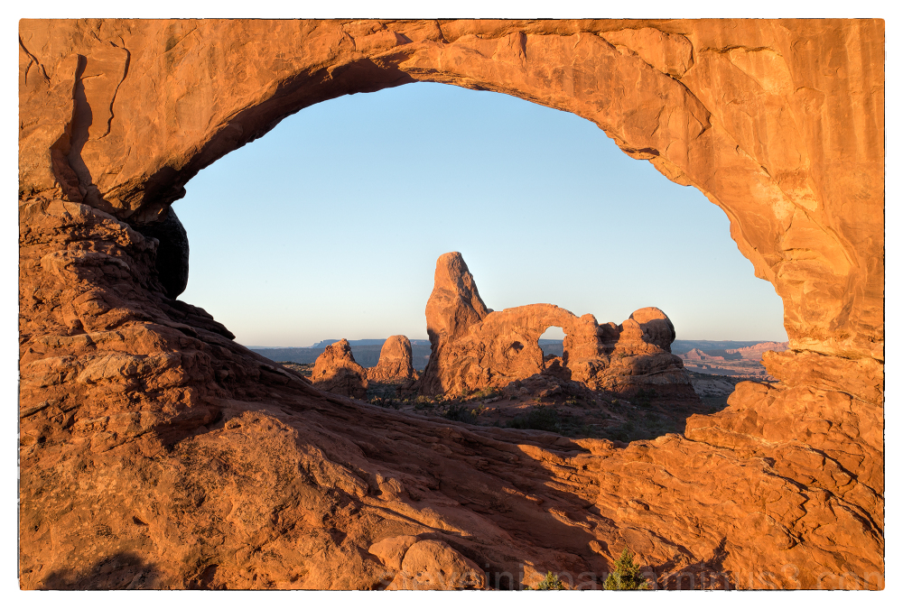 Turret Arch, at sunrise, in Arches National Park.